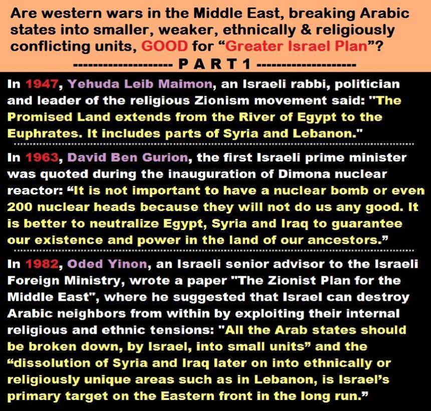 All ME wars are for Greater Israel