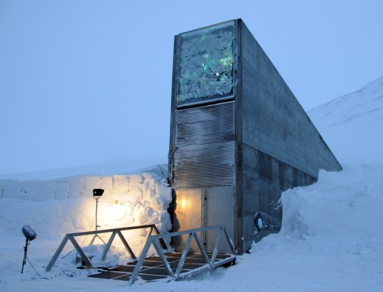 Front entrance of the Svalbard Global Seed Vault.  Photo by Mari Tefre.