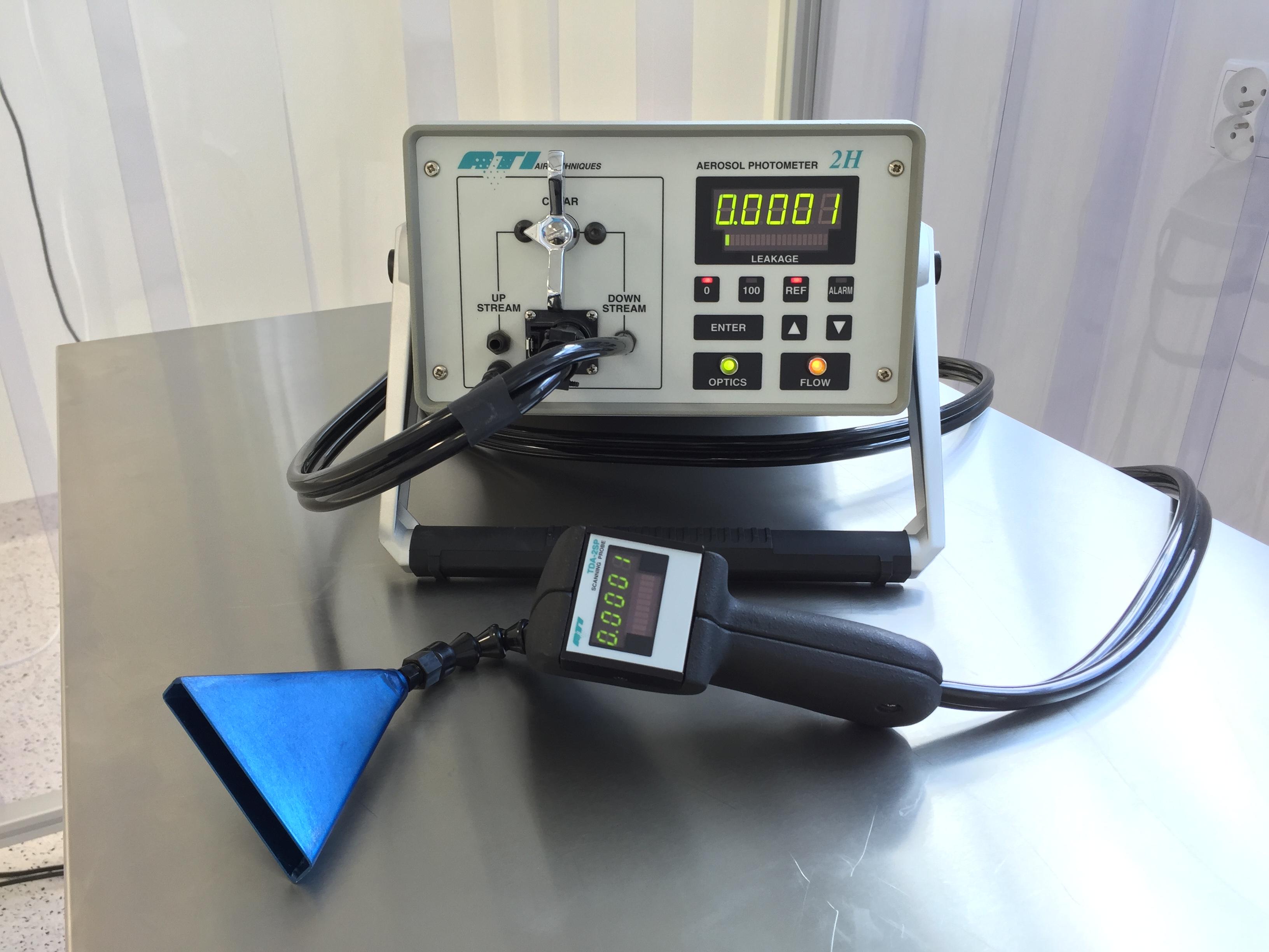 Pomiar przecieku i szczelności mocowania filtrów HEPA