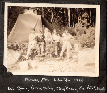 Labor Day camping trip 1934, in Norway, Maine. Bob Spence, Harry Forbes, Mary Brown, Audrey Lester, and Phillis Edwards (L to R)
