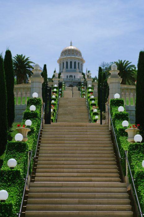 Photo of the Bahá'í Gardens in Haifa by Paul
