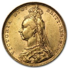 1887-92 GB Gold Sovereign Victoria Jubilee 22mm