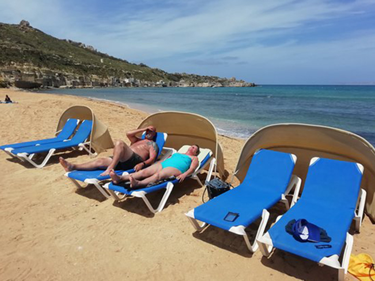 Sunbeds offered by Ġnejna Watersports