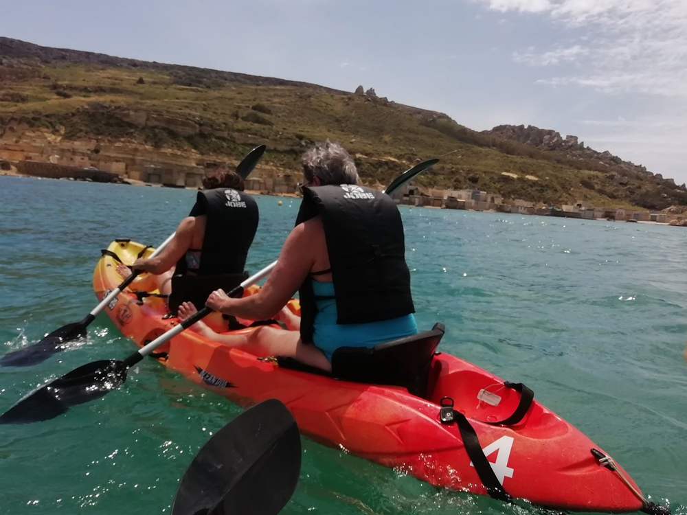 Kayaking in Malta around Gnejna