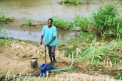 Happy man in Malawi pumping water to his crops