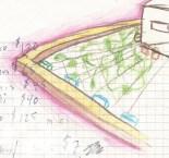 Concepto de techo verde con zapallos creciendo sobre alambres