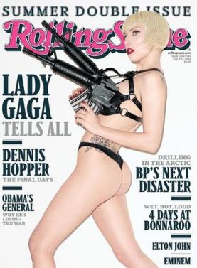 Lady Gaga sported assault rifles... and one very nice booty... for her RS cover (Rolling Stone)