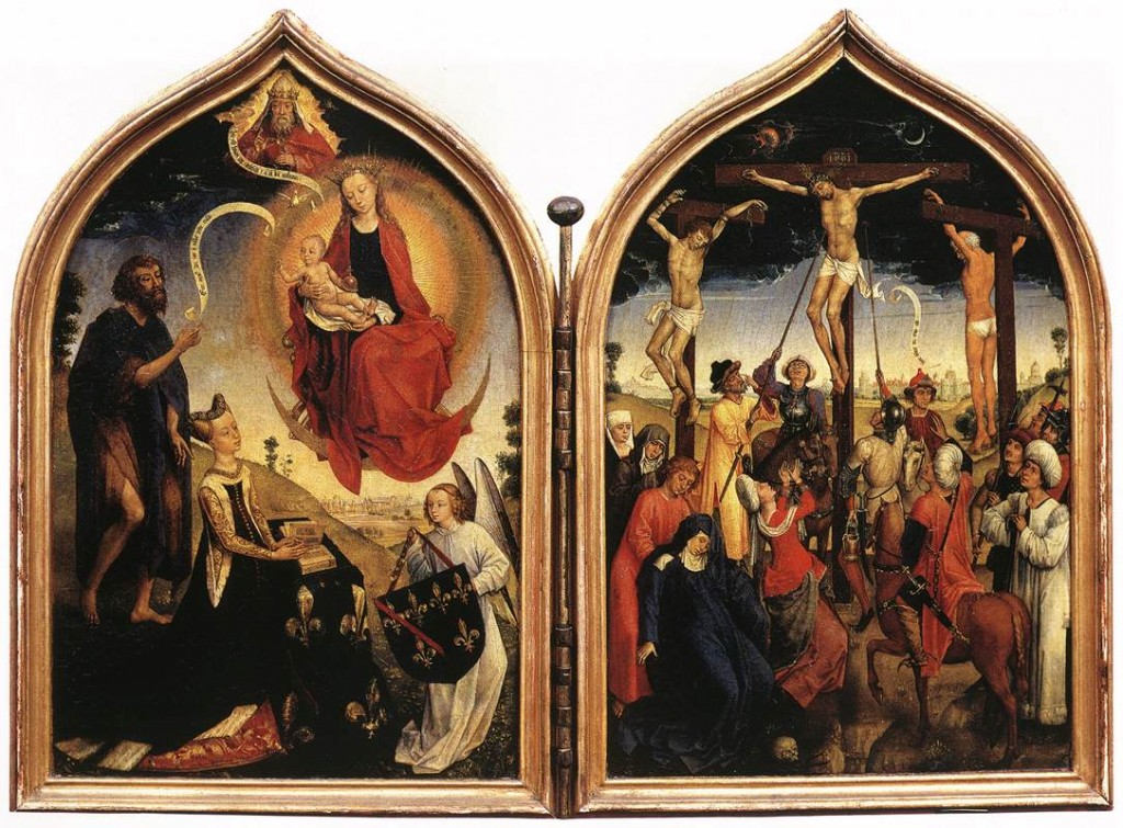 Jesus Crucified Diptych of Jeanne of France Rogier van der Weyden