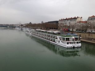 """Scenic Emerald"" docked in Lyon with other River Cruise Ships"