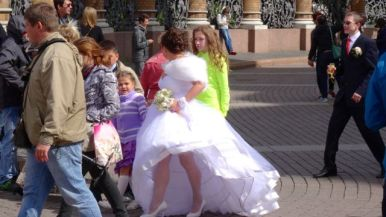 A bride with the wind up her sails