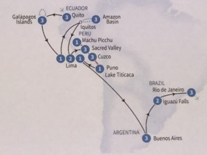 South America 2015 Itinerary Map