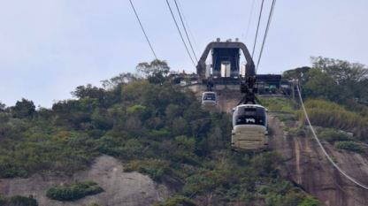 Cable car to the top.