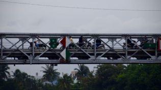 Busy motor bike bridge