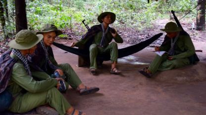 Viet Cong Soldiers relaxing - not real ones.