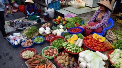 Fresh fruit and vegetables at the market.