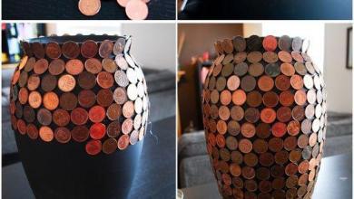 Photo of إعادة تدوير زهرية بقطع من العملات المعدنية