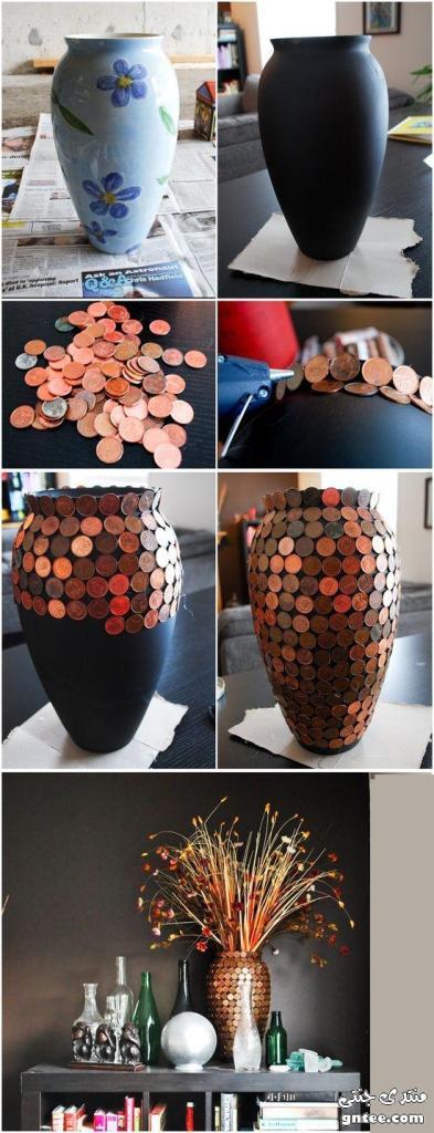 تجديد زهرية بقطع من العملات المعدنية