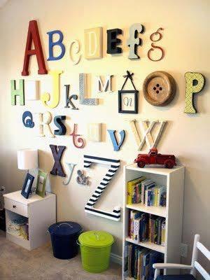 تزيين الحائط بالحروف الأبجدية