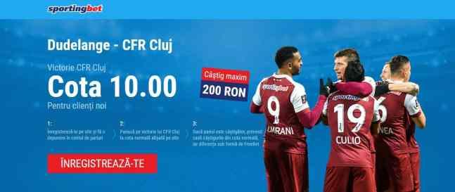 Pariaza 20 RON pe CFR in partida cu Dudelange si poti incasa 200 RON!