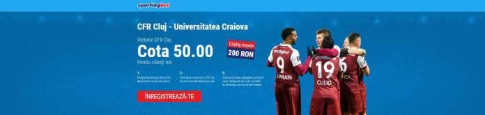 CFR Cluj vs U Craiova: cota 50.00 pentru gazde