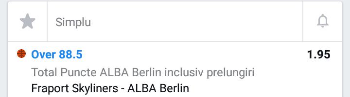 Cota 2 pentru meciul dintre Frankfurt si Alba Berlin