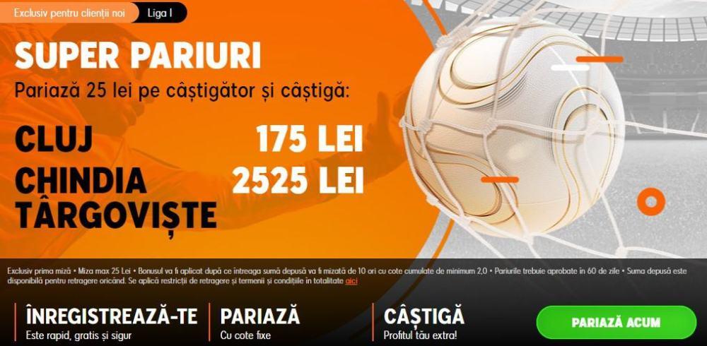Cote speciale pentru CFR Cluj vs Chindia Targoviste