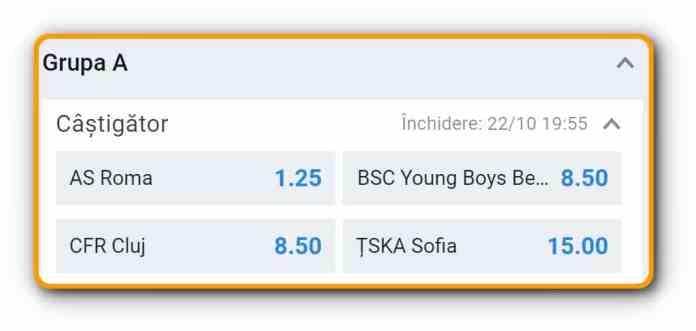 Europa League betting odds Group A