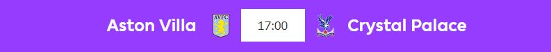 17:00 Aston Villa vs. Crystal Palace