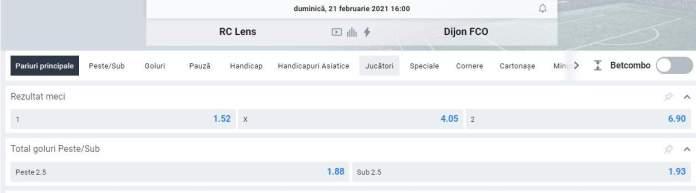prezentare cote fotbal Lens vs Dijon - oferta betano