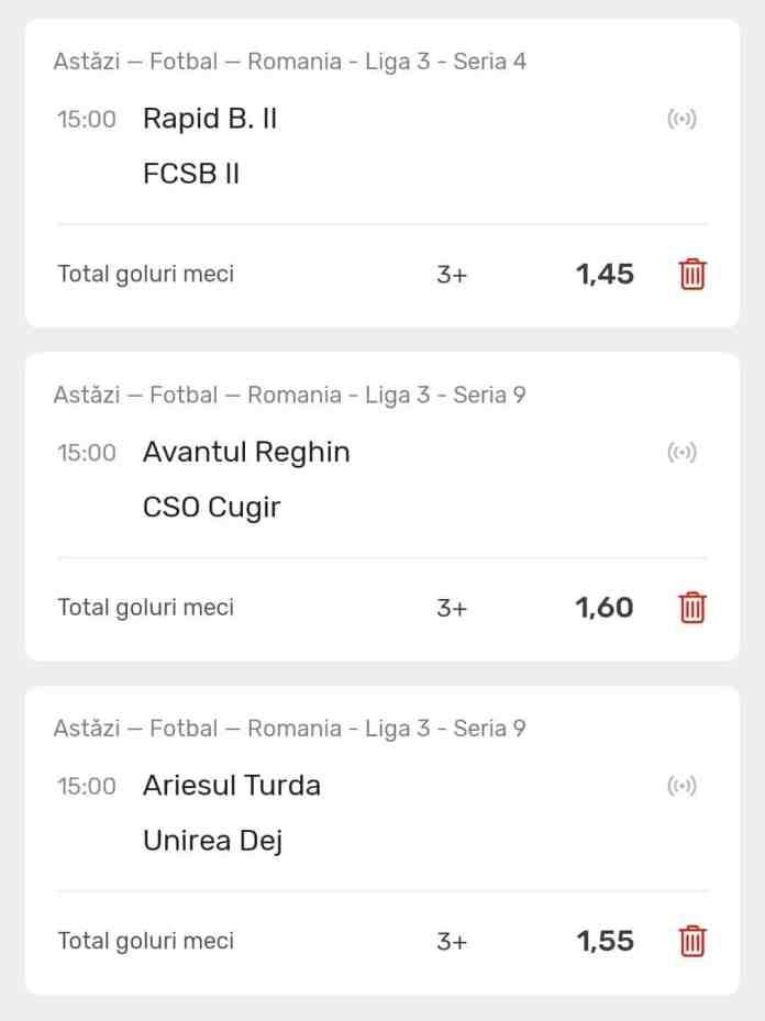 Ponturi Liga 3 : Cota 3.60 - 26.03.2021