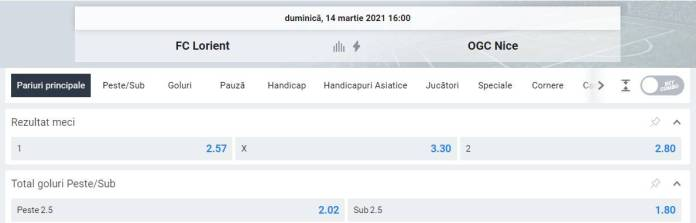 oferta betano - prezentare cote FC Lorient vs OGC Nice - Ligue 1
