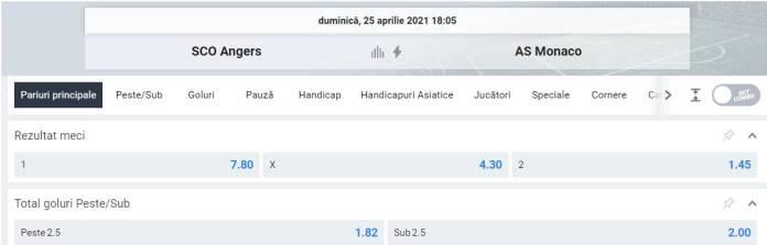 Ponturi pariuri Angers vs AS Monaco - Ligue 1
