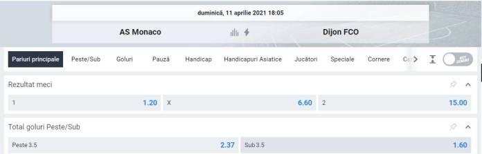 Ponturi pariuri AS Monaco vs Dijon - Ligue 1
