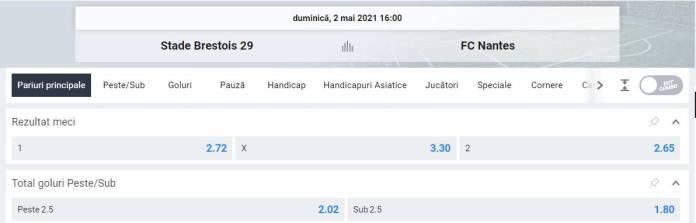 Ponturi pariuri Brest vs Nantes - Ligue 1