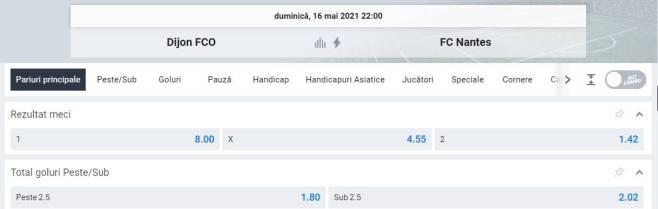 Ponturi pariuri Dijon vs Nantes - Ligue 1