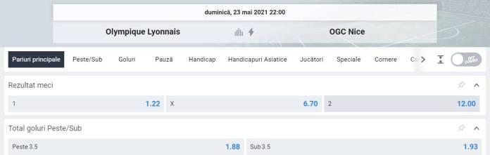 Ponturi pariuri Lyon vs Nice - Ligue 1