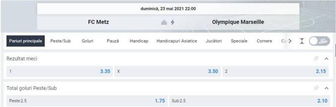 Ponturi pariuri Metz vs Marseille - Ligue 1
