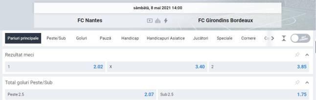 Ponturi pariuri Nantes vs Bordeaux - Ligue 1