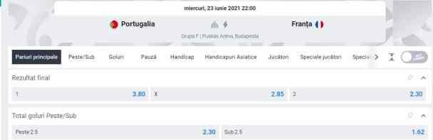 Ponturi pariuri Portugalia vs Franta - EURO 2020