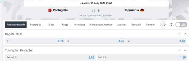 Ponturi pariuri Portugalia vs Germnaia - EURO 2020