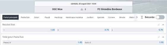 Ponturi pariuri OGC Nice vs Bordeaux