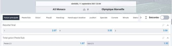 Ponturi pariuri AS Monaco vs Marseille