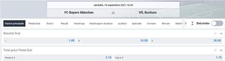 Ponturi pariuri Bayern Munchen vs Bochum