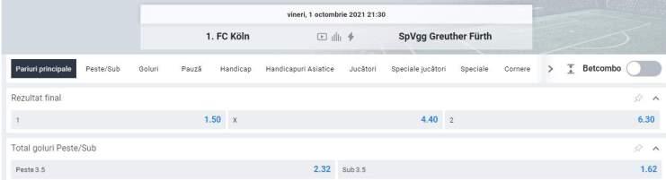 Ponturi pariuri FC Koln vs Furth - Bundesliga