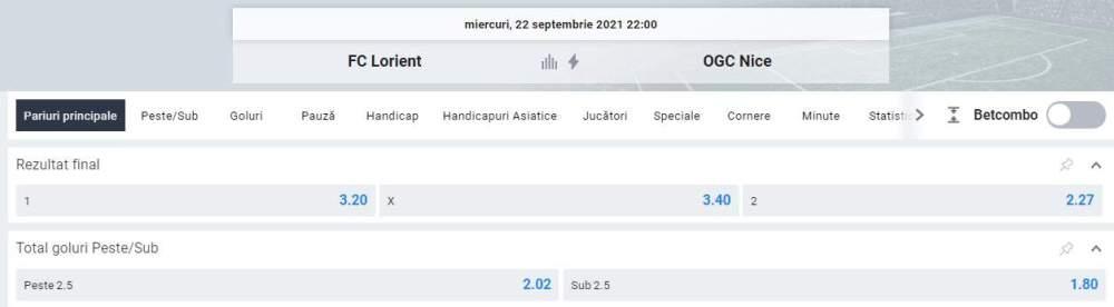 Ponturi pariuri Lorient vs OGC Nice