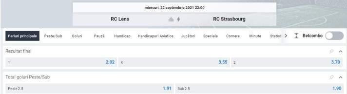 Ponturi pariuri RC Lens vs Strasbourg