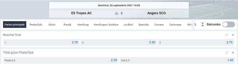 Ponturi pariuri Troyes vs Angers