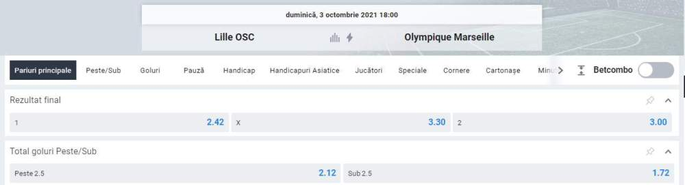 Ponturi pariuri OSC Lille vs Marseille