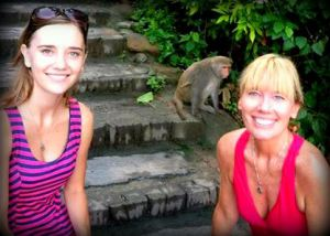 Me and my gorgeous Momma hanging out with a monkey-man.