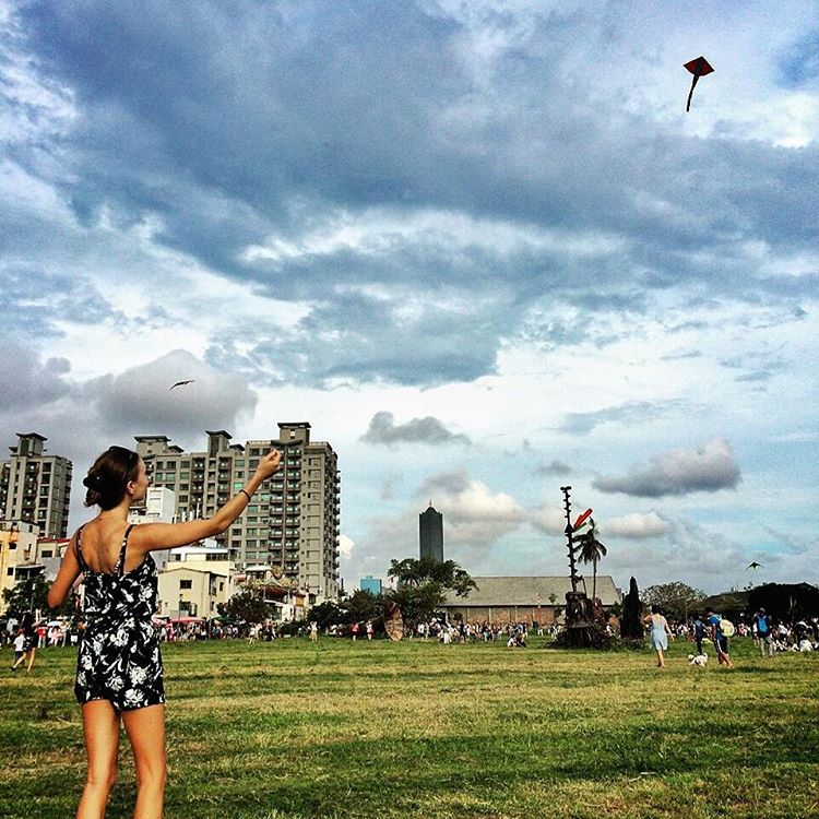 Flying kites in the park, Kaohsiung, Taiwan